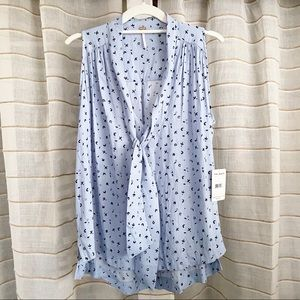 NWT Free People Floral Tie Blouse in Sky Blue